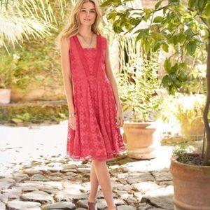 Sundance coral crochet lace dress; Size 14